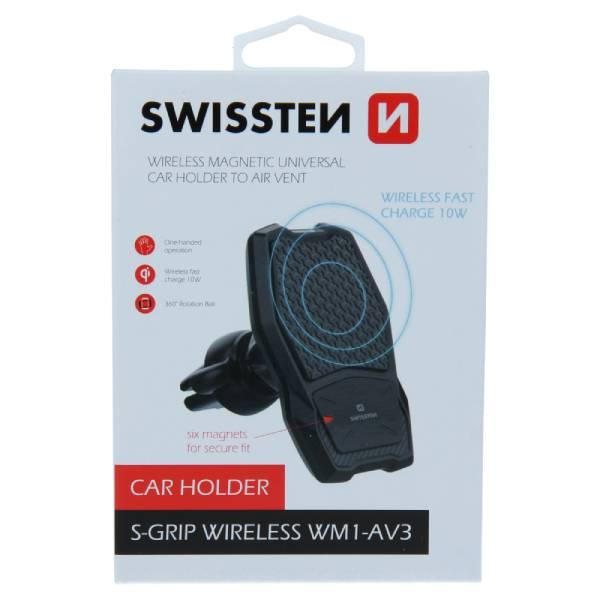 Swissten Μαγνητική Βάση Αυτοκινήτου με ασύρματο φορτιστή S-GRIP WM1-AV3