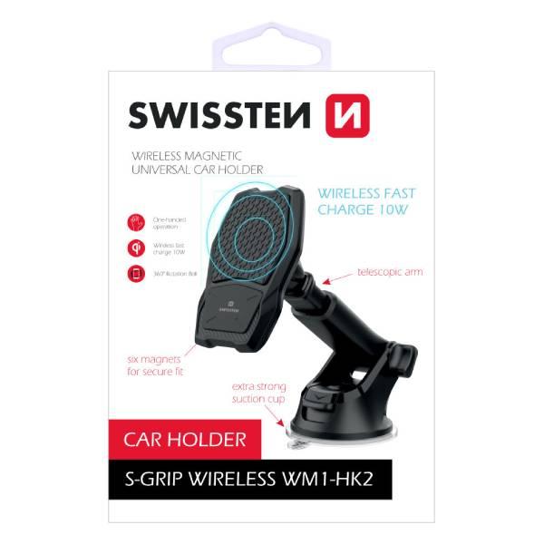 Swissten Μαγνητική Βάση Αυτοκινήτου με ασύρματο φορτιστή S-GRIP WM1-HK2α