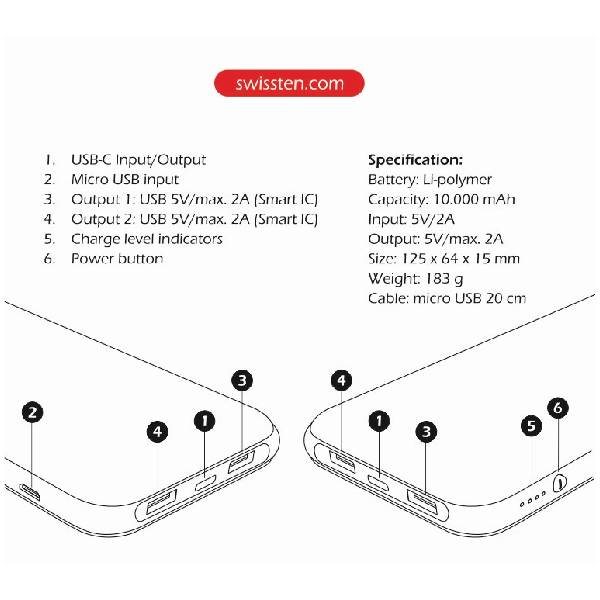 Swissten Μαύρο Slim Power Bank 10000 mAh με είσοδο USB-C-3