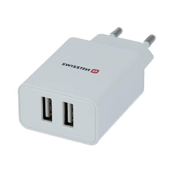 Swissten Φορτιστής Ταξιδιού Smart IC με 2x USB ισχύος 2.1A + Καλώδιο Δεδομένων USB/ LIGHTNING 1,2m Λευκό-1