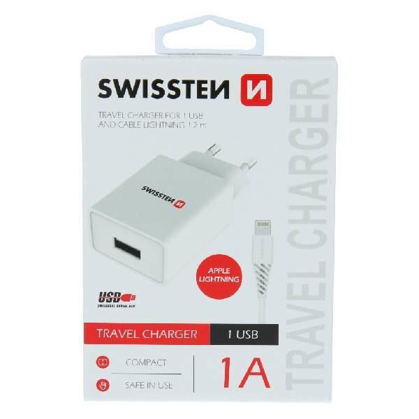 Swissten Φορτιστής Ταξιδιού Smart IC με 1x USB ισχύος 1A + Καλώδιο Δεδομένων USB -LIGHTNING 1,2m Λευκό