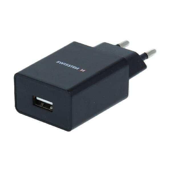 Swissten Φορτιστής Ταξιδιού Smart IC με 1x USB ισχύος 1A + Καλώδιο Δεδομένων USB - LIGHTNING 1,2m Μαύρο-1