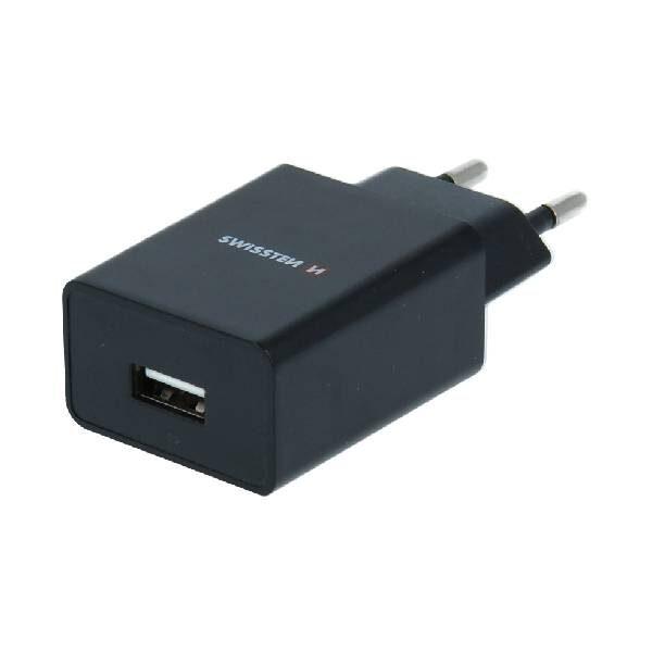 Swissten Φορτιστής Ταξιδιού Smart IC με 1x USB ισχύος 1A + Καλώδιο Δεδομένων USB- MICRO USB 1,2m Μαύρο-1