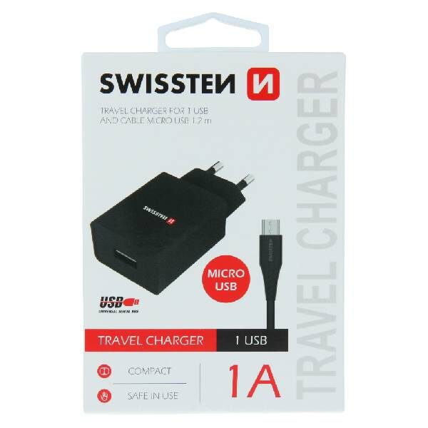 Swissten Φορτιστής Ταξιδιού Smart IC με 1x USB ισχύος 1A + Καλώδιο Δεδομένων USB- MICRO USB 1,2m Μαύρο