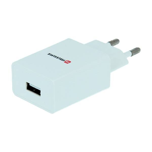 Swissten Φορτιστής Ταξιδιού Smart IC με 1x USB ισχύος 1A + Καλώδιο Δεδομένων USB -TYPE C 1,2m Λευκό-1