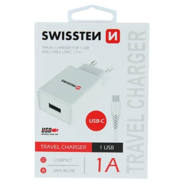 Swissten Φορτιστής Ταξιδιού Smart IC με 1x USB ισχύος 1A + Καλώδιο Δεδομένων USB -TYPE C 1,2m Λευκό