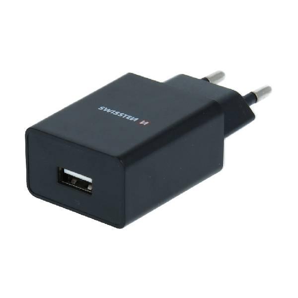 Swissten Φορτιστής Ταξιδιού Smart IC με 1x USB ισχύος 1A + Καλώδιο Δεδομένων USB -TYPE C 1,2m Μαύρο-1