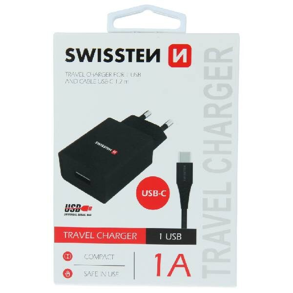 Swissten Φορτιστής Ταξιδιού Smart IC με 1x USB ισχύος 1A + Καλώδιο Δεδομένων USB -TYPE C 1,2m Μαύρο