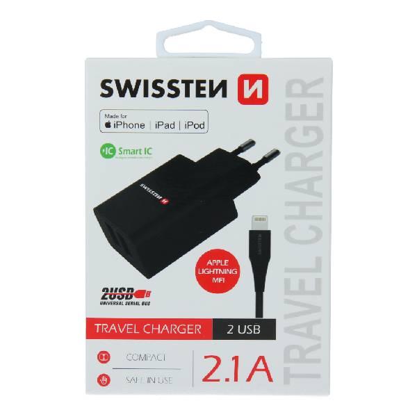Swissten Φορτιστής Ταξιδιού Smart IC με 2x USB ισχύος 2.1A + Καλώδιο Δεδομένων USB- LIGHTNING MFi 1,2m Μαύρο