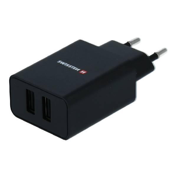 Swissten Φορτιστής Ταξιδιού Smart IC με 2x USB ισχύος 2.1A + Καλώδιο Δεδομένων USB- LIGHTNING MFi 1,2m Μαύρο1