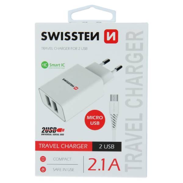 Swissten Φορτιστής Ταξιδιού Smart IC με 2x USB ισχύος 2.1A + Καλώδιο Δεδομένων USB - MICRO USB1,2m Λευκό