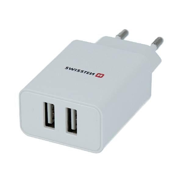 Swissten Φορτιστής Ταξιδιού Smart IC με 2x USB ισχύος 2.1A + Καλώδιο Δεδομένων USB - MICRO USB1,2m Λευκό1
