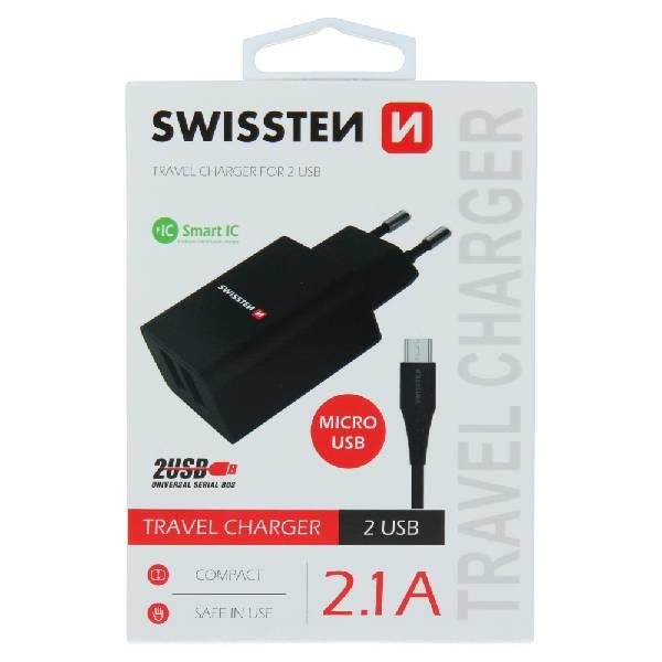 Swissten Φορτιστής Ταξιδιού Smart IC με 2x USB ισχύος 2.1A + Καλώδιο Δεδομένων USB -MICRO USB1,2m Μαύρο