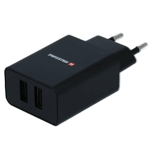 Swissten Φορτιστής Ταξιδιού Smart IC με 2x USB ισχύος 2.1A + Καλώδιο Δεδομένων USB -MICRO USB1,2m Μαύρο1