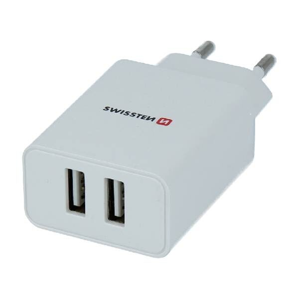Swissten Φορτιστής Ταξιδιού Smart IC με 2x USB ισχύος 2.1A Λευκό-1