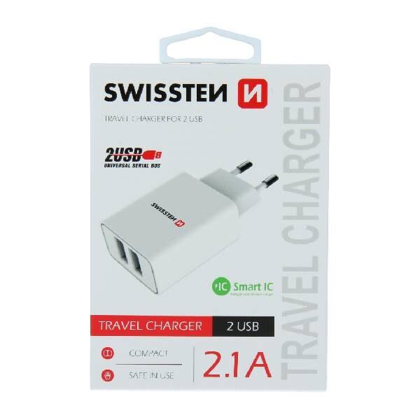 Swissten Φορτιστής Ταξιδιού Smart IC με 2x USB ισχύος 2.1A Λευκό