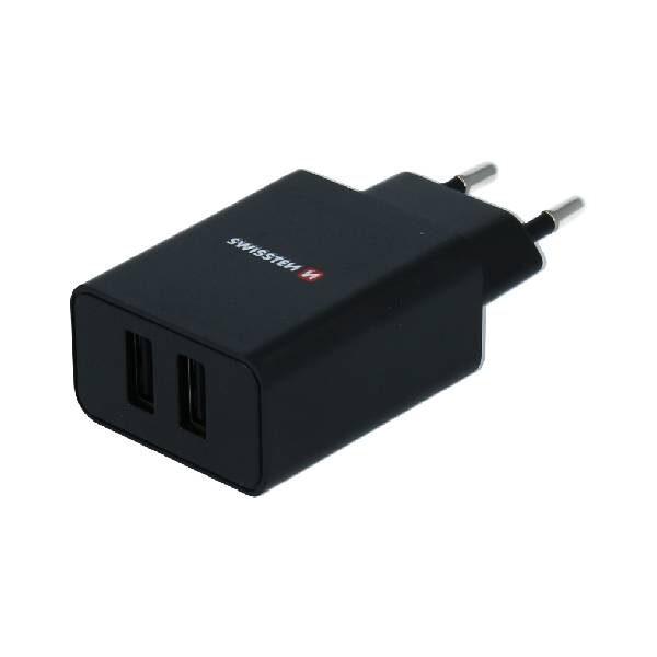 Swissten Φορτιστής Ταξιδιού Smart IC με 2x USB ισχύος 2.1A Μαύρο-1