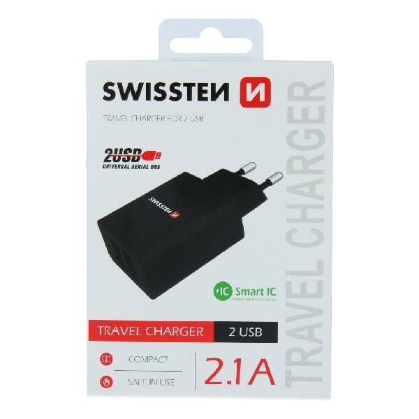 Swissten Φορτιστής Ταξιδιού Smart IC με 2x USB ισχύος 2.1A Μαύρο