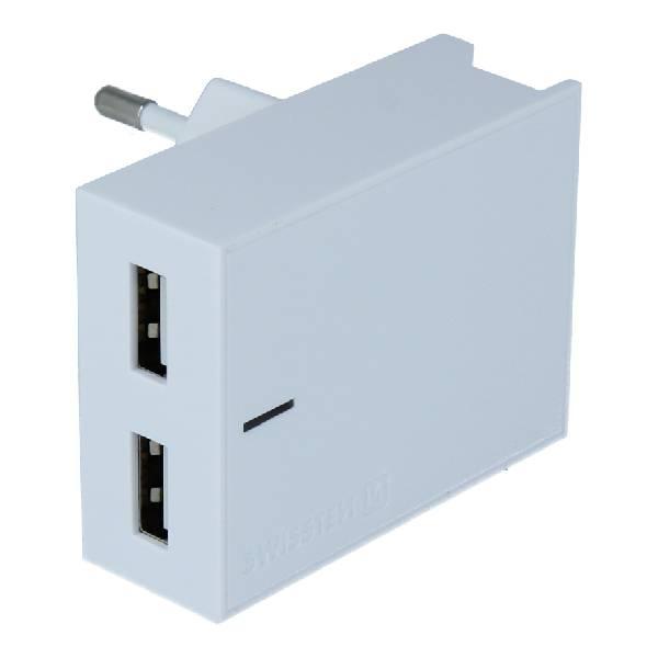 Swissten Φορτιστής Ταξιδιού Smart IC με 2x USB ισχύος 3A + Καλώδιο Δεδομένων USB- MICRO USB 1.2m Λευκό-2