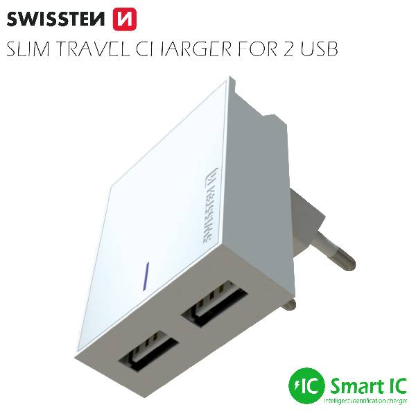 Swissten Φορτιστής Ταξιδιού Smart IC με 2x USB ισχύος 3A + Καλώδιο Δεδομένων USB- MICRO USB 1.2m Λευκό-3