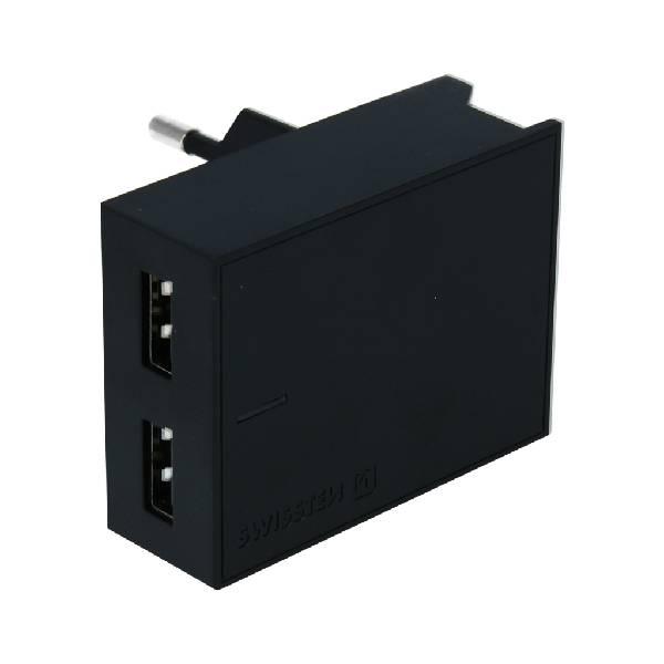 Swissten Φορτιστής Ταξιδιού Smart IC με 2x USB ισχύος 3A + Καλώδιο Δεδομένων USB- MICRO USB 1.2m Μαύρο-1