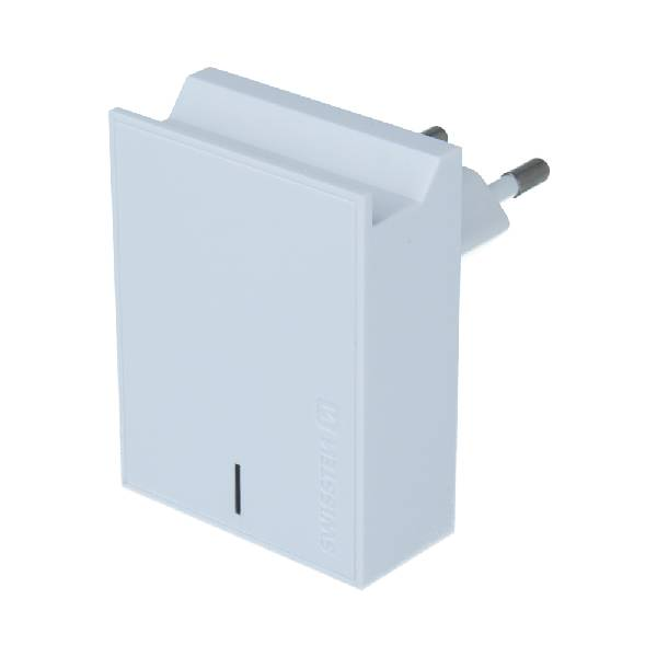 Swissten Φορτιστής Ταξιδιού Smart IC με 2x USB ισχύος 3A + Καλώδιο Δεδομένων USB- TYPE C 1.2m Λευκό-1