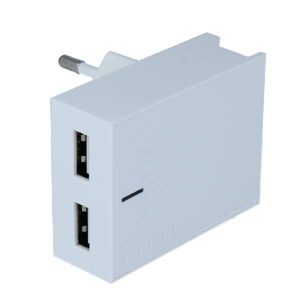 Swissten Φορτιστής Ταξιδιού Smart IC με 2x USB ισχύος 3A + Καλώδιο Δεδομένων USB- TYPE C 1.2m Λευκό-2