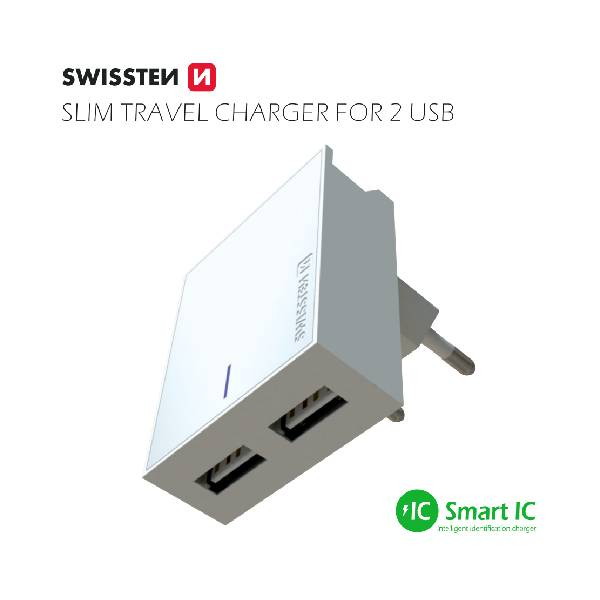 Swissten Φορτιστής Ταξιδιού Smart IC με 2x USB ισχύος 3A + Καλώδιο Δεδομένων USB- TYPE C 1.2m Λευκό-3