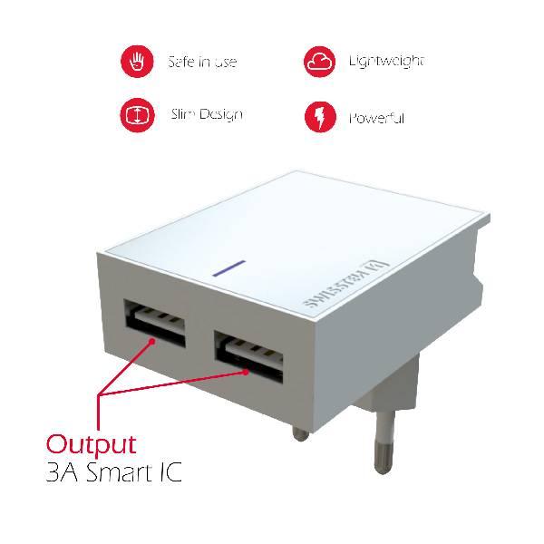 Swissten Φορτιστής Ταξιδιού Smart IC με 2x USB ισχύος 3A + Καλώδιο Δεδομένων USB- TYPE C 1.2m Λευκό-4