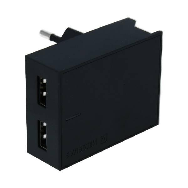 Swissten Φορτιστής Ταξιδιού Smart IC με 2x USB ισχύος 3A + Καλώδιο Δεδομένων USB- TYPE C 1.2m Μαύρος-1