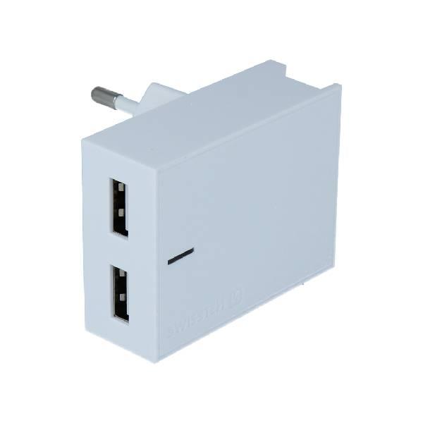 Swissten Φορτιστής Ταξιδιού Smart IC με 2x USB ισχύος 3A + Καλώδιο Δεδομένων USBLightning 1.2m Λευκό-2