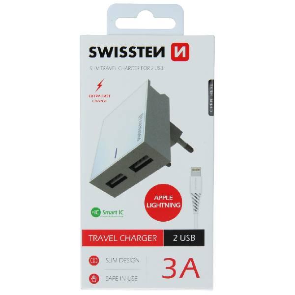 Swissten Φορτιστής Ταξιδιού Smart IC με 2x USB ισχύος 3A + Καλώδιο Δεδομένων USBLightning 1.2m Λευκό