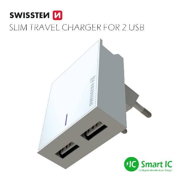 Swissten Φορτιστής Ταξιδιού Smart IC με 2x USB ισχύος 3A + Καλώδιο Δεδομένων USBLightning MFi 1.2m Λευκό-3