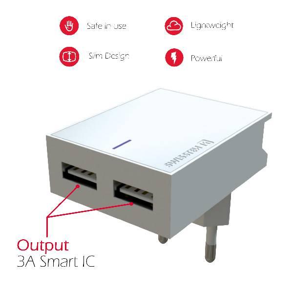 Swissten Φορτιστής Ταξιδιού Smart IC με 2x USB ισχύος 3A + Καλώδιο Δεδομένων USBLightning MFi 1.2m Λευκό-4