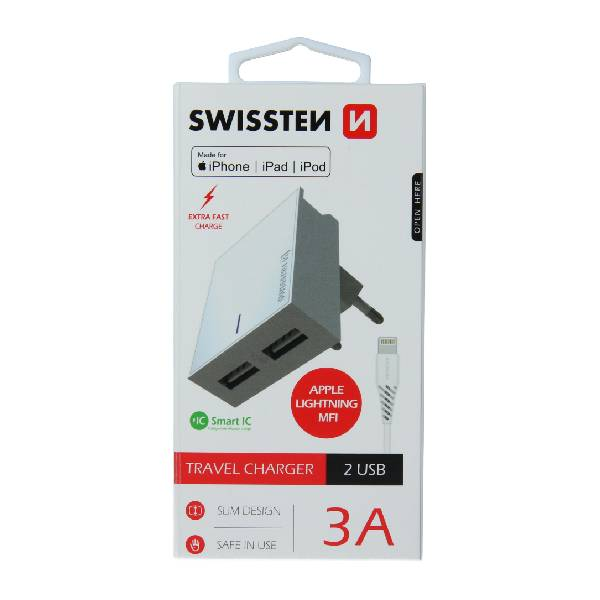 Swissten Φορτιστής Ταξιδιού Smart IC με 2x USB ισχύος 3A + Καλώδιο Δεδομένων USBLightning MFi 1.2m Λευκό