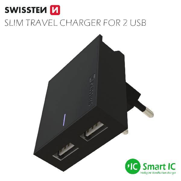 Swissten Φορτιστής Ταξιδιού Smart IC με 2x USB ισχύος 3A + Καλώδιο Δεδομένων USBLightning MFi 1.2m Μαύρο-3