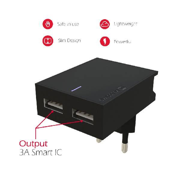 Swissten Φορτιστής Ταξιδιού Smart IC με 2x USB ισχύος 3A + Καλώδιο Δεδομένων USBLightning MFi 1.2m Μαύρο-4