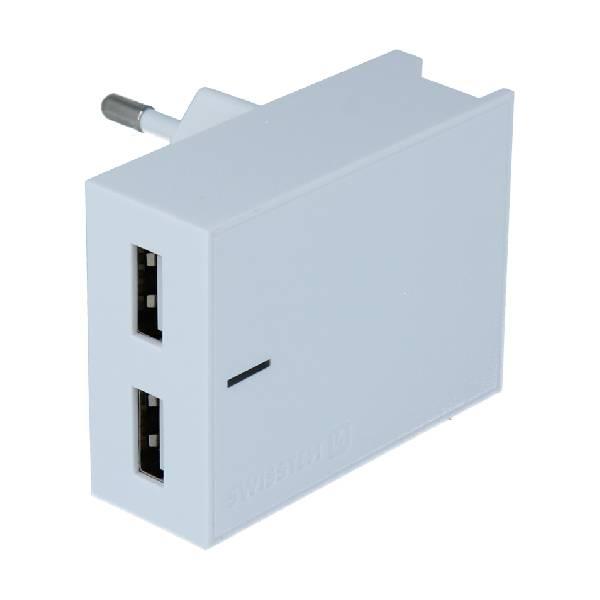 Swissten Φορτιστής Ταξιδιού Smart IC με 2x USB ισχύος 3A Λευκό-1