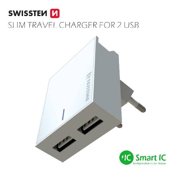 Swissten Φορτιστής Ταξιδιού Smart IC με 2x USB ισχύος 3A Λευκό-2