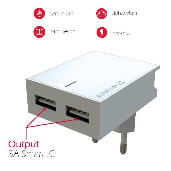 Swissten Φορτιστής Ταξιδιού Smart IC με 2x USB ισχύος 3A Λευκό-3