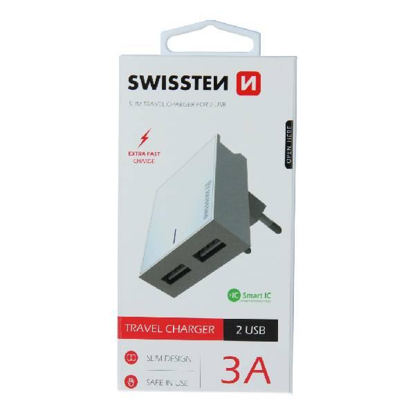 Swissten Φορτιστής Ταξιδιού Smart IC με 2x USB ισχύος 3A Λευκό