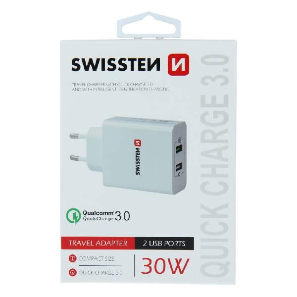 Swissten Φορτιστής ταξιδίου Qualcomm γρήγορη φόρτιση 3.0 + Smart IC με 2x30W USB Λευκός