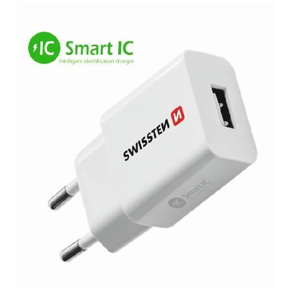 Swissten Φορτιστής ταξιδίου Smart IC με 1x USB 2,1A Ισχύος- Λευκός-1