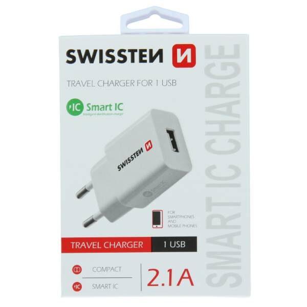 Swissten Φορτιστής ταξιδίου Smart IC με 1x USB 2,1A Ισχύος- Λευκός