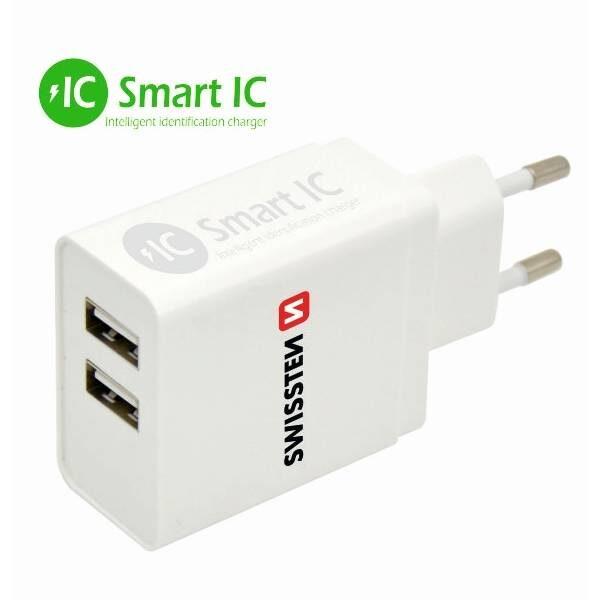 Swissten Φορτιστής ταξιδίου Smart IC με 2x USB 3,1A Ισχύος- Λευκός-1