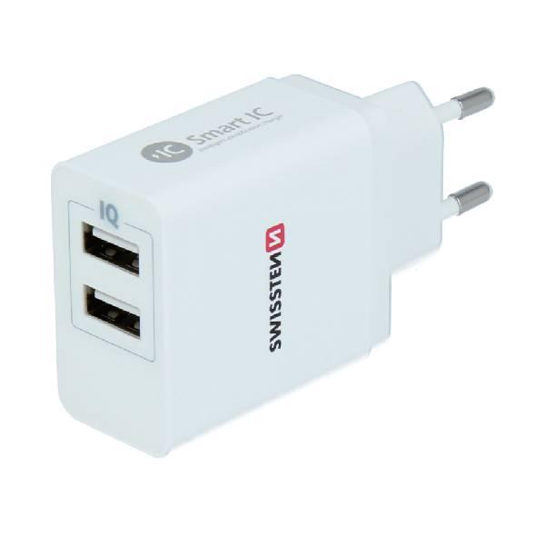 Swissten Φορτιστής ταξιδίου Smart IC με 2x USB 3,1A Ισχύος- Λευκός-2