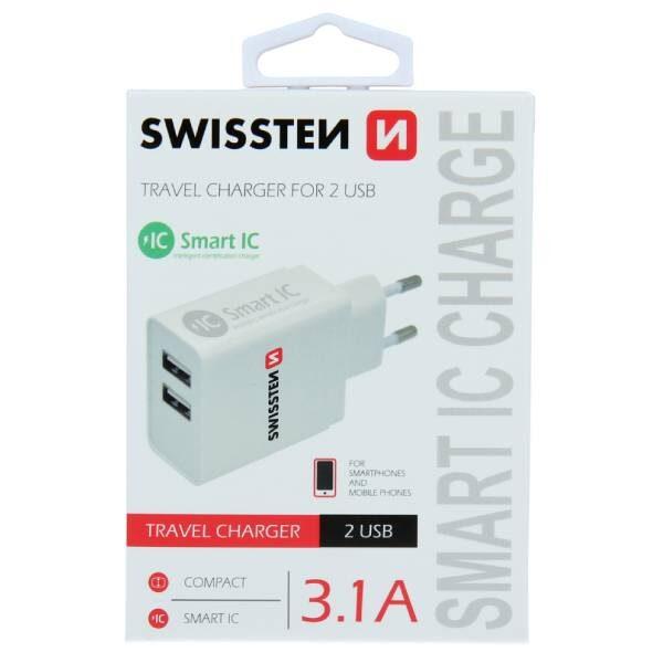 Swissten Φορτιστής ταξιδίου Smart IC με 2x USB 3,1A Ισχύος- Λευκός