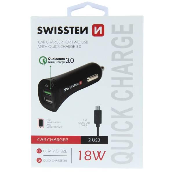 Swissten φορτιστής αυτοκινήτου με γρήγορη φόρτιση 3.0 + USB Ισχύος 2,4A 18W