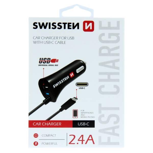 Swissten φορτιστής αυτοκινήτου με USB-C και USB ισχύος 2,4A