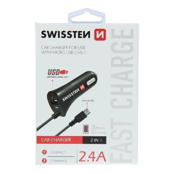 Swissten φορτιστής αυτοκινήτου micro USB και USB ισχύος 2,4A